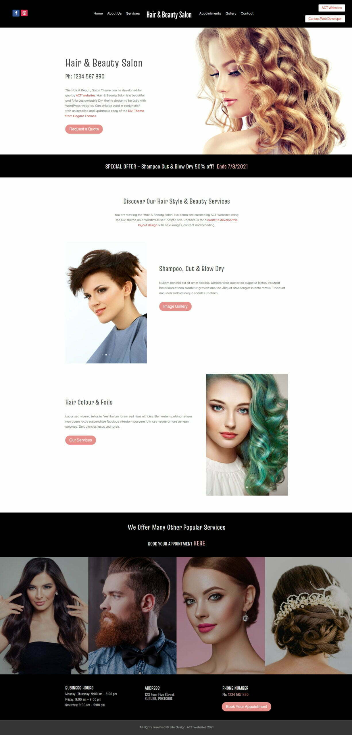 Hair & Beauty Salon Theme Demo
